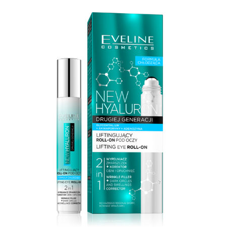 Eveline New Hyaluron 4D - liftingujący roll-on pod oczy, 15 ml.